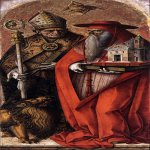 Carlo Crivelli (c. 1435  c. 1495)  St Jerome and St Augustine  Tempera on wood, c. 1490  208 x 72  Gallerie dell'Accademia, Venice, Italy